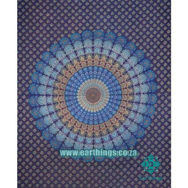 Blue Peacock Mandala Tapestry Queen Size