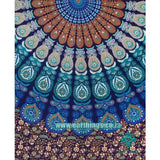 Hippie Mandala Tapestry Indian Blue Floral Psychedelic Medallion Tapestry - EarthingsSA