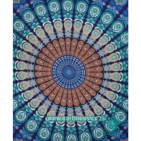 Hippie Mandala Tapestry Indian Blue Floral Psychedelic Medallion Queen Size