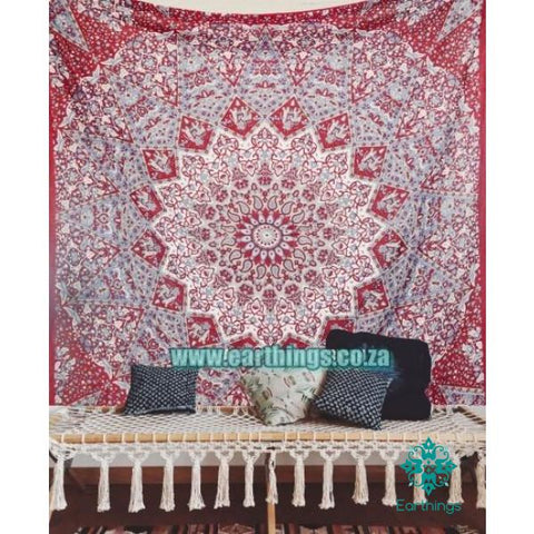 Maroon Indian Star Hippie Mandala Tapestry Queen Size