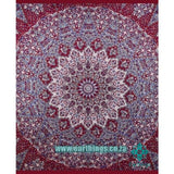 Maroon Indian Star Hippie Mandala Tapestry - EarthingsSA