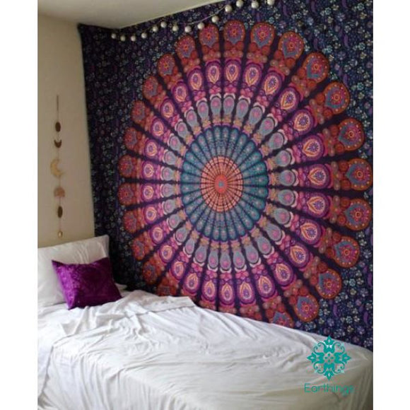 Queen Pink Purple Indian Mandala Throw Tapestry - EarthingsSA