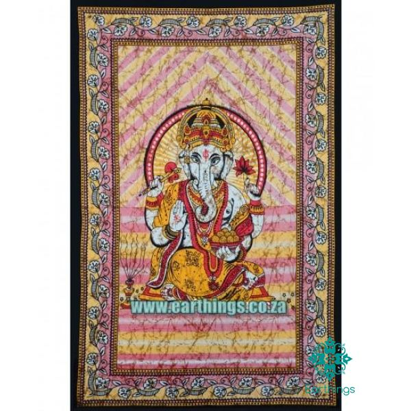 Red & Yellow Elephant God Ganesha Tapestry Twin Size