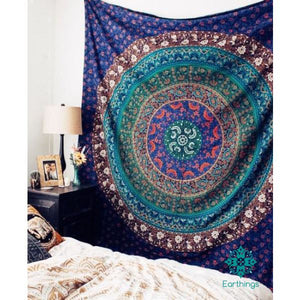 Royal Blue Magical Medallion Bohochic Mandala Wall Tapestry - EarthingsSA