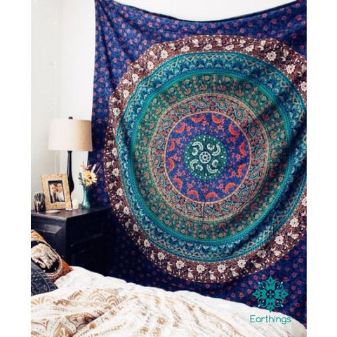 Royal Blue Magical Medallion Bohochic Mandala Wall Tapestry Queen Size