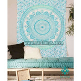 Sea Green Hippie Bohemian Mandala Ombre Wall Tapestry - EarthingsSA