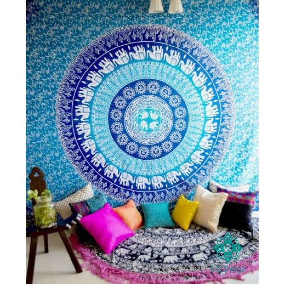 Turquoise Blue Sun Moon Elephants Medallion Ombre Wall Tapestry - EarthingsSA