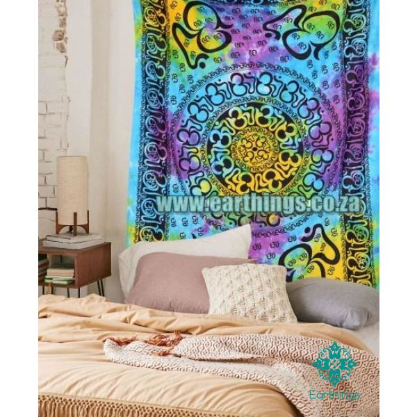 Turquoise Yellow Tie Dye Wall Tapestry Twin Size