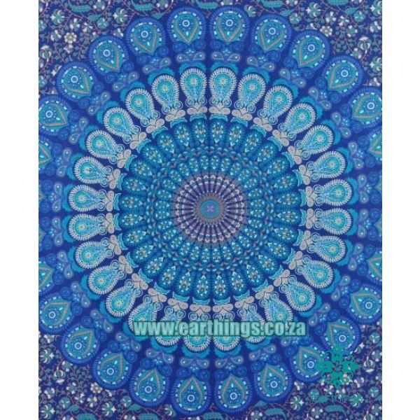 Twin Indian Blue Hippie Mandala Tapestry Size