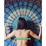 Twin Indian Blue Hippie Mandala Tapestry - EarthingsSA