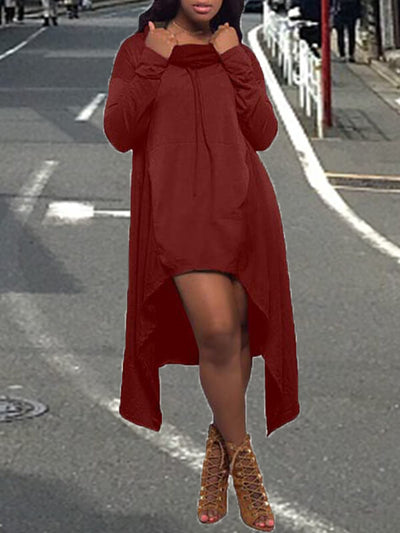 Cowl Neck High-Low Hoodie Dress