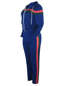 Zip-Front Hoodie & Side-Stripe Pants Set (1390845984885)