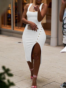 Square-Neck Slit Dress