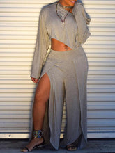 Load image into Gallery viewer, Solid Crop Top & Slit Pants Set