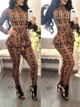 Load image into Gallery viewer, Print Peplum Belted Jumpsuit