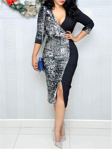 Sequin Combo Deep V Slit Dress