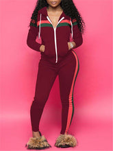 Load image into Gallery viewer, Zip-Front Hoodie & Side-Stripe Pants Set (1390845984885)