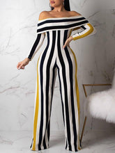Load image into Gallery viewer, Off Shoulder Stripe Jumpsuit