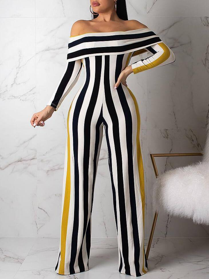 Off Shoulder Stripe Jumpsuit