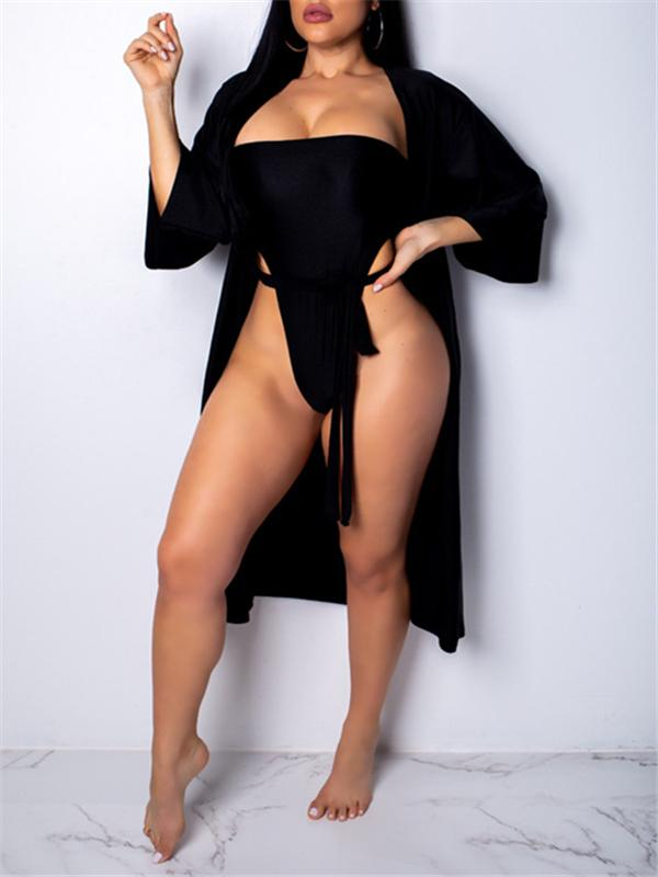 Plain Monokini With Cover-Up