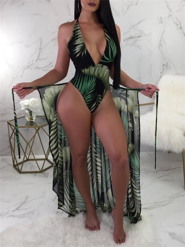 Palm Print Monokini With Cover