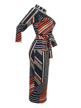 Load image into Gallery viewer, Stripe Zip-Front Bodycon Dress
