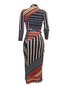 Stripe Zip-Front Bodycon Dress