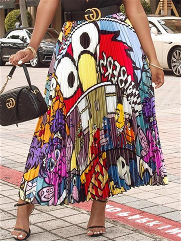 Cartoon Pleated Skirt
