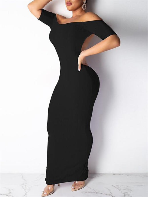Off-Shoulder Backless Ribbed Dress