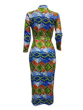 Load image into Gallery viewer, Snake Print Zip-Front Bodycon Dress