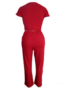 Ribbed Knot Top & Pants Set