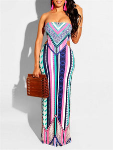 Printed Cutout Back Dress