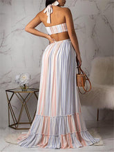 Load image into Gallery viewer, Stripe Halter Maxi Dress