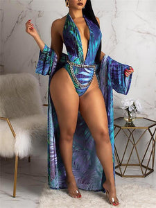 Print Halter Monokini With Cover