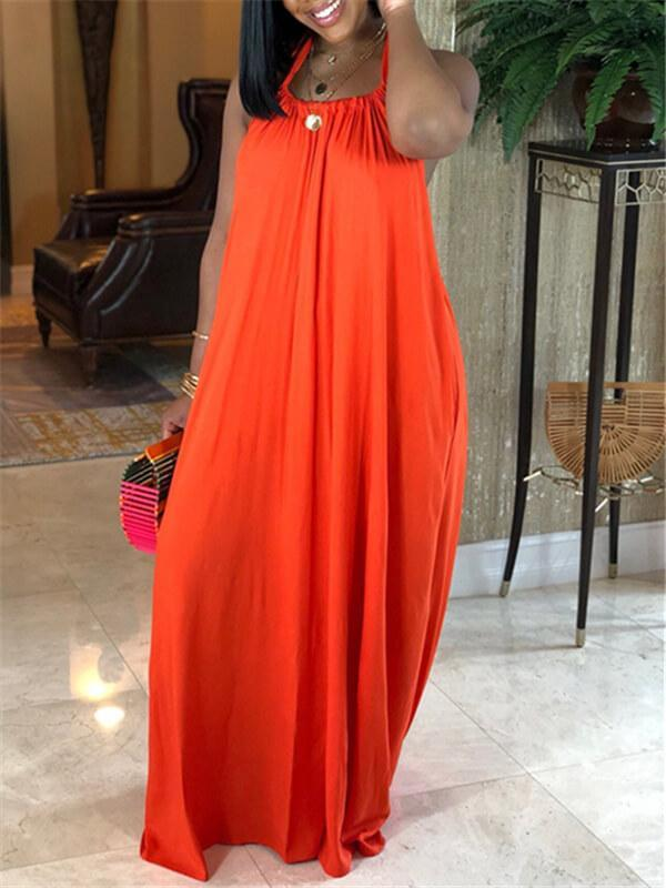 Halter Backless Maxi Dress--2XL