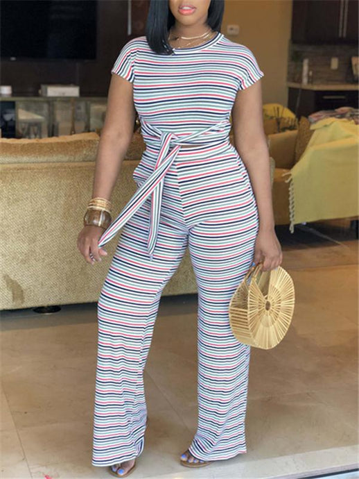 Stripe Knot-Front Crop Top & Pants Set