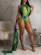 Load image into Gallery viewer, Print Halter Monokini With Cover