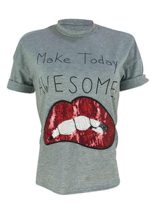 Sequin Lip Tee
