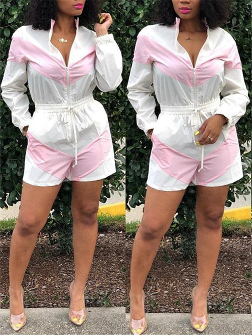 Two-Tone Zip-Front Romper