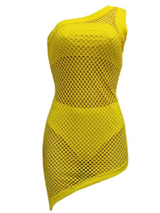 One Shoulder Mesh Cover & Bikini Set