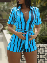 Load image into Gallery viewer, Stripe Zip-Front Romper