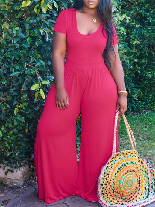 Solid Wide-Leg Jumpsuit