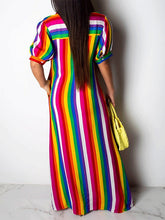 Load image into Gallery viewer, Rainbow Stripe Shirt Dress