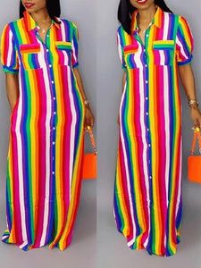 Rainbow Stripe Shirt Dress