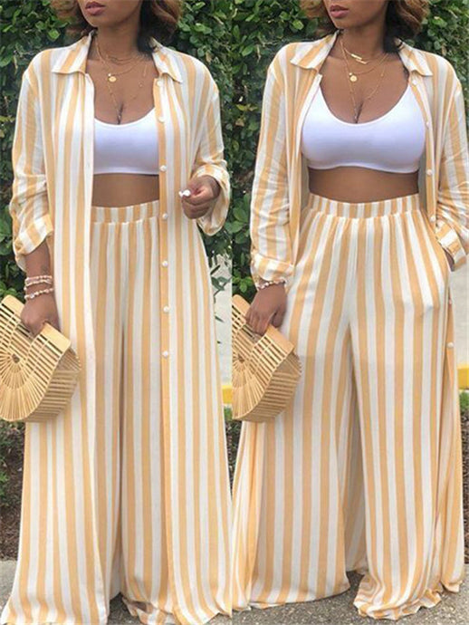 Striped Long Shirt Wide Leg Pants Two Piece