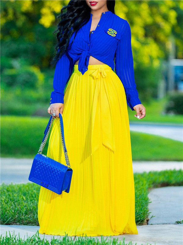 Knot Front Pleated Maxi Skirt
