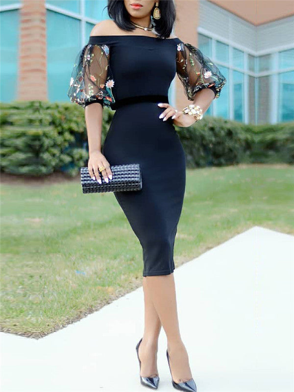Off Shoulder Balloon Bodycon Midi Dress