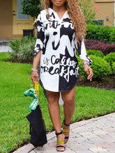 Load image into Gallery viewer, Letters Monochrome Shirt Dress