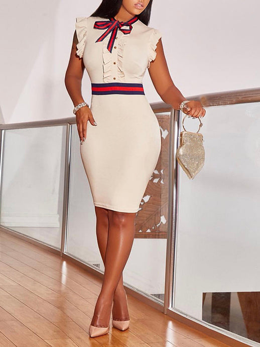 Flutter Sleeve Knot Bodycon Dress