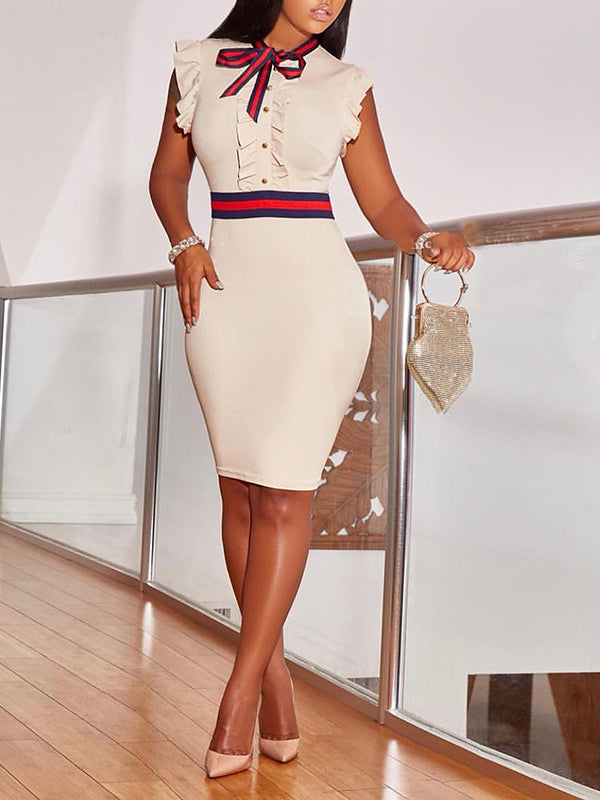 White Fill Cap Sleeve Bodycon Dress